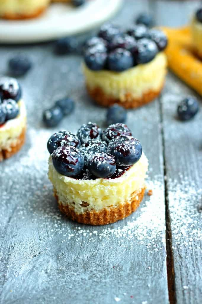 Mini Lemon and Blueberry Cheescakes