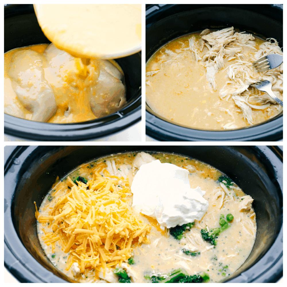 Montagem e cozimento de frango em panela lenta com brócolis.