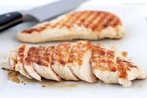 Grilled Citrus Chicken that has been sliced.