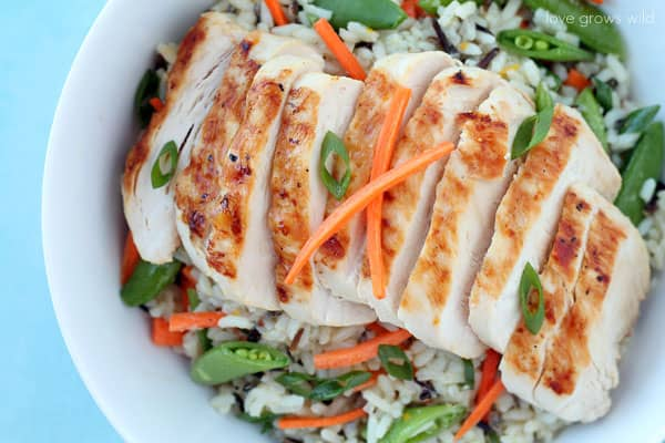 Grilled Citrus Chicken Rice Bowl in a white bowl.