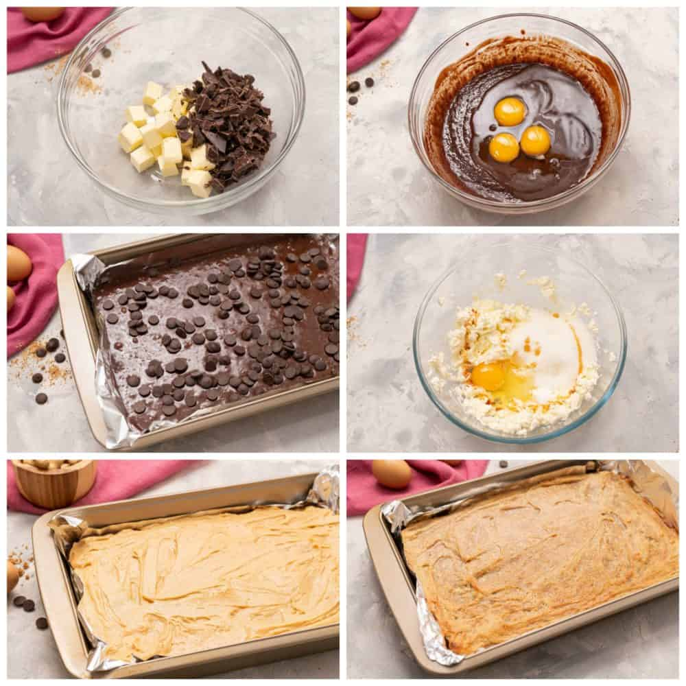 Process of making Peanut Butter Cheesecake Brownie Bars.