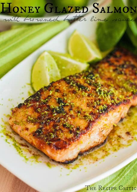 Honey Glazed Salmon with Browned Butter Lime Sauce on a white plate.
