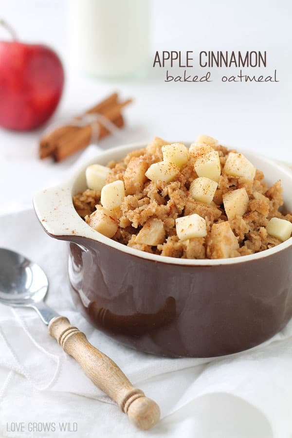 Apple Cinnamon Baked Oatmeal - Soft, sweet apples baked into creamy, cinnamon-infused oatmeal is a delicious way to start the morning! | LoveGrowsWild.com