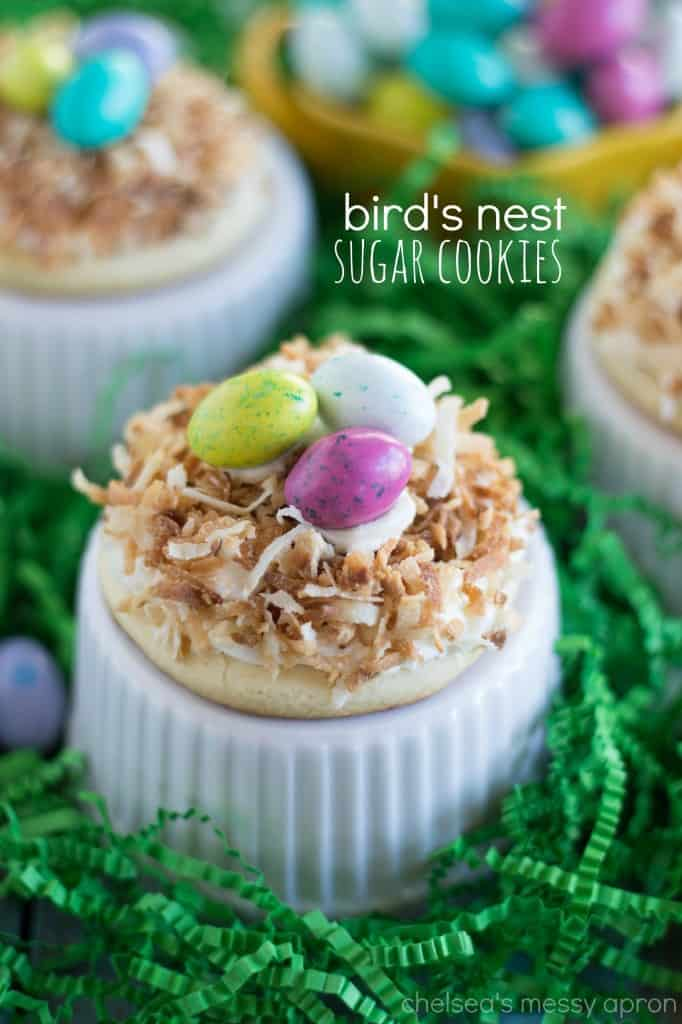 Sugar Cookie Bird's Nest Cookies with green paper nesting.