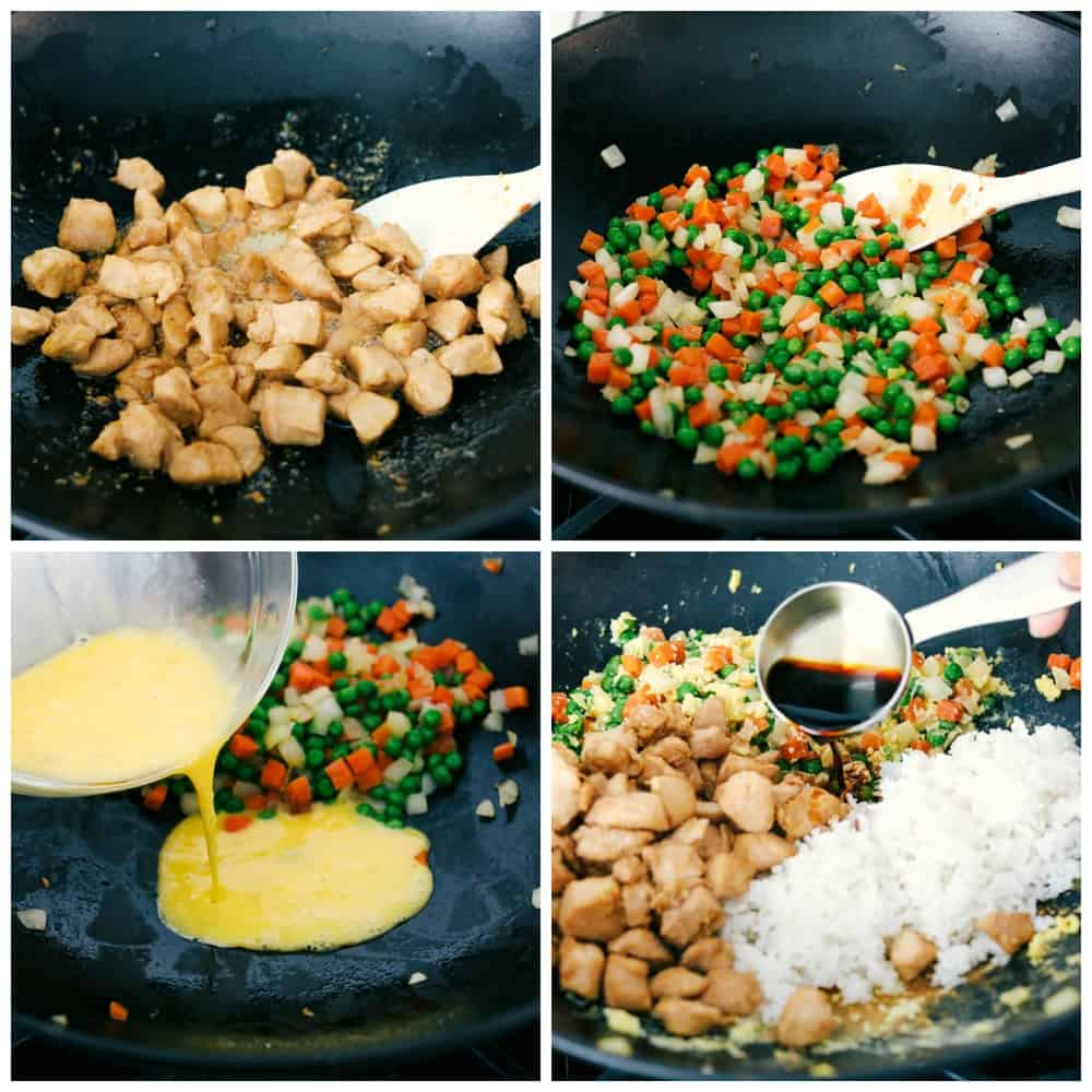 The process of making chicken in a wok. First cooking the chicken, then cook peas and carrots next add eggs and rice then mix together.
