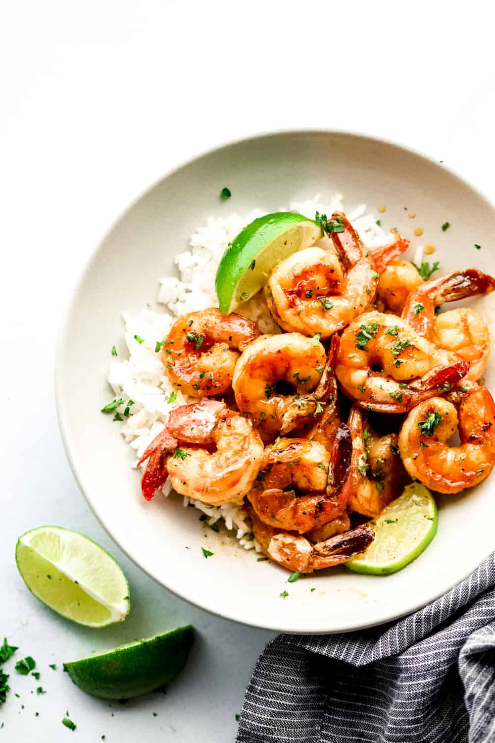 honey lime shrimp over rice in a bowl