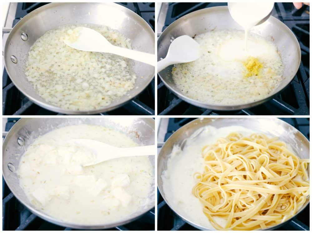 Process of making Lemon Garlic Cream Fettuccini.