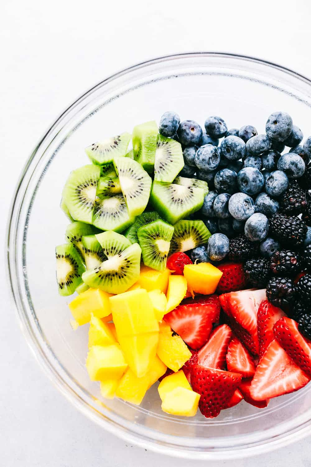 Fruit salad ingredients in a bowl before they are mixed.