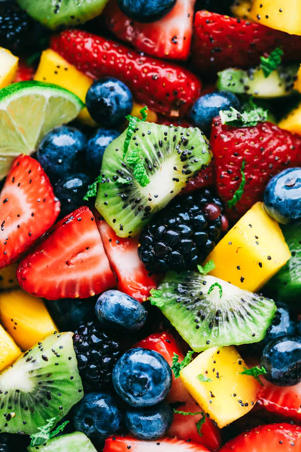Close up on fruit salad.