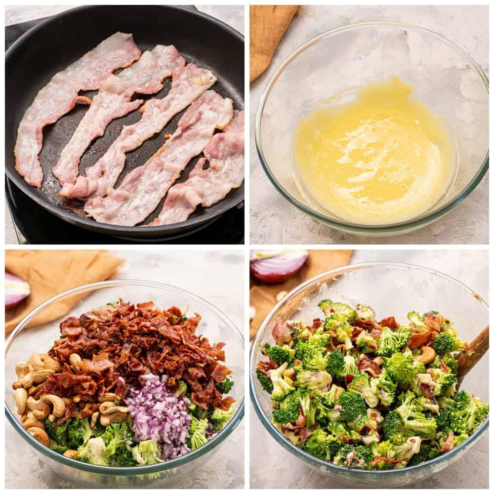 Steps to make broccoli cashew salad.