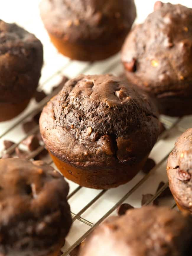 Double Chocolate Muffins on a cooling rack.