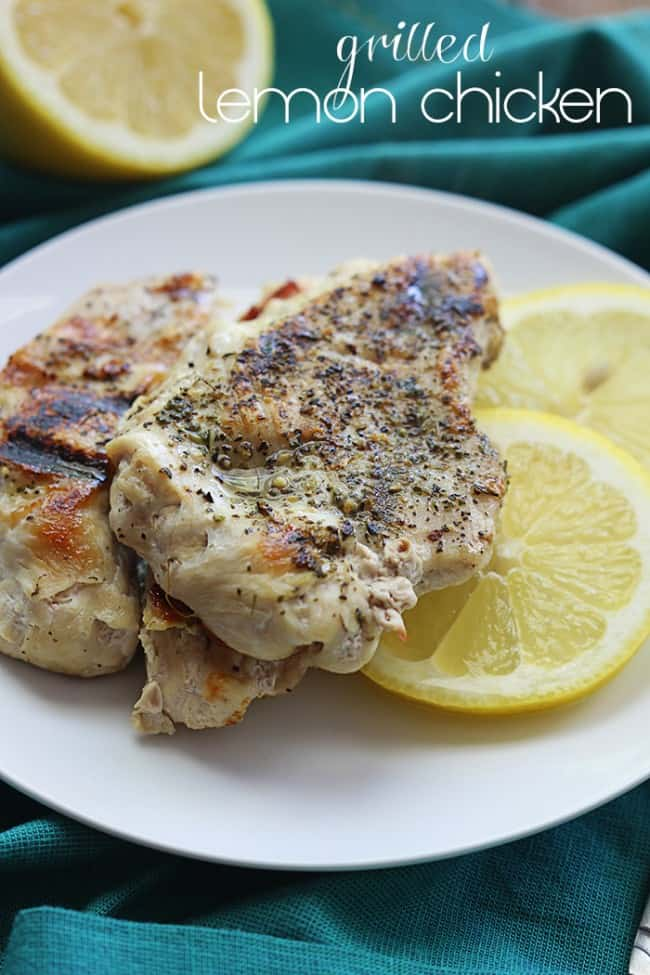 Grilled Lemon Chicken on a white plate.
