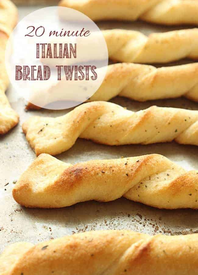 Italian Bread Twists on a baking sheet.