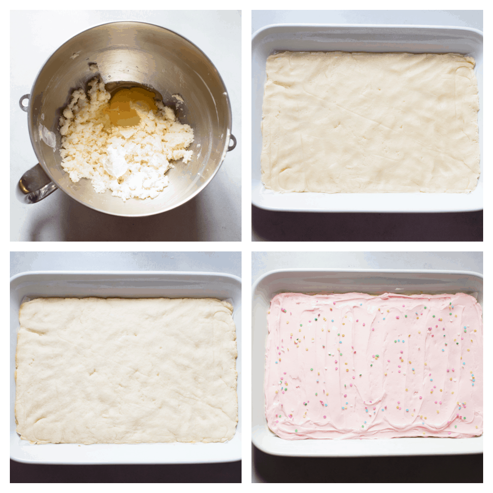 The process of making sugar cookie bar batter and baking in a pan.