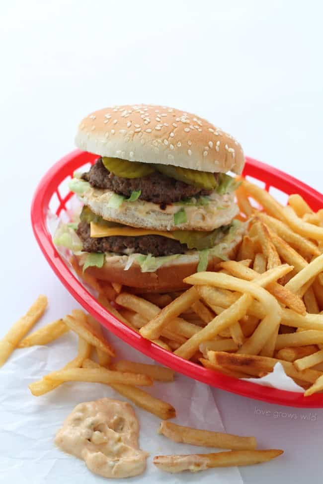Big Mac Burger with french fries in a red basket.