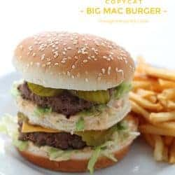 This Big Mac Burger is extra meaty with a delicious special sauce, just like the original! | Recipe by Love Grows Wild via The Recipe Critic