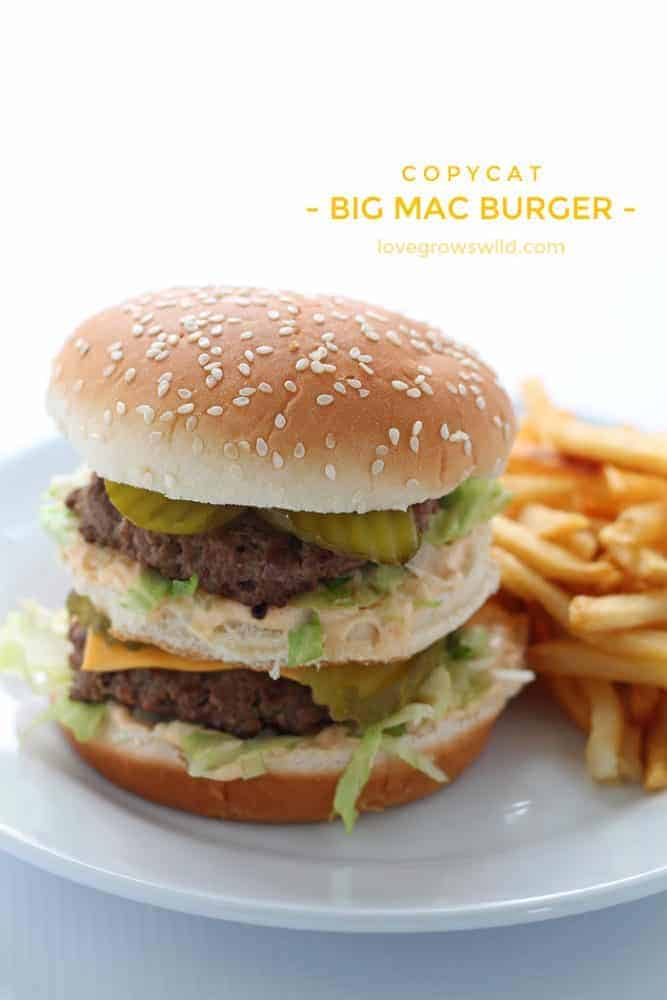 Big Mac Burger on white plate with fresh fries on the side.
