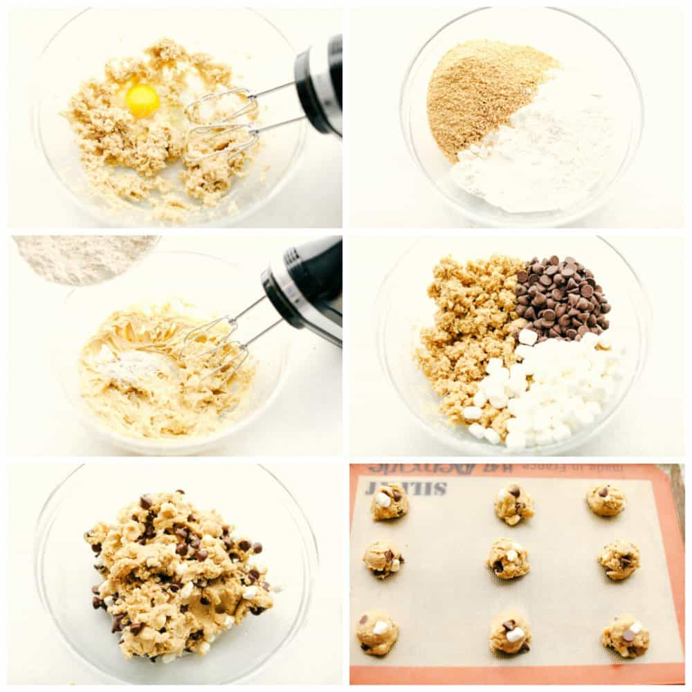 The process of making s'mores cookies.