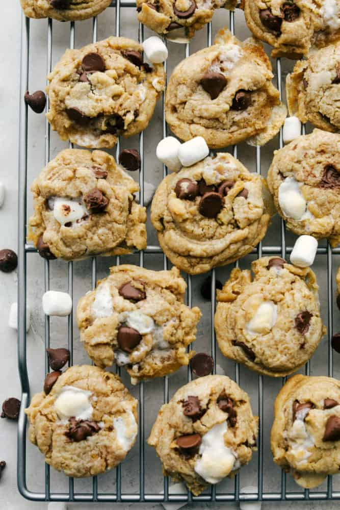 S'mores cookies on a wire rack cooling.