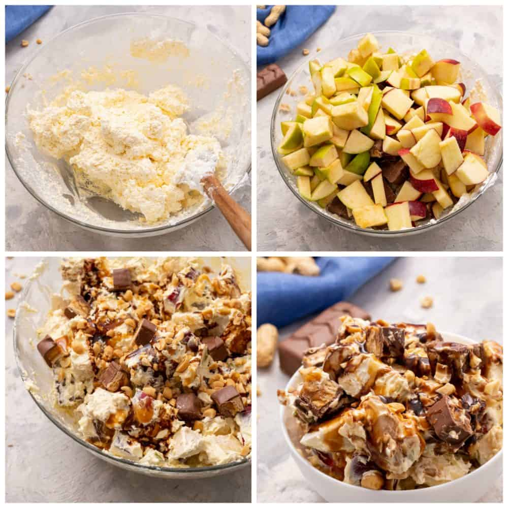 Steps to make snickers caramel apple salad.