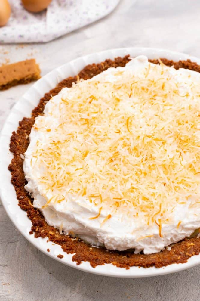 Close up on key lime pie.