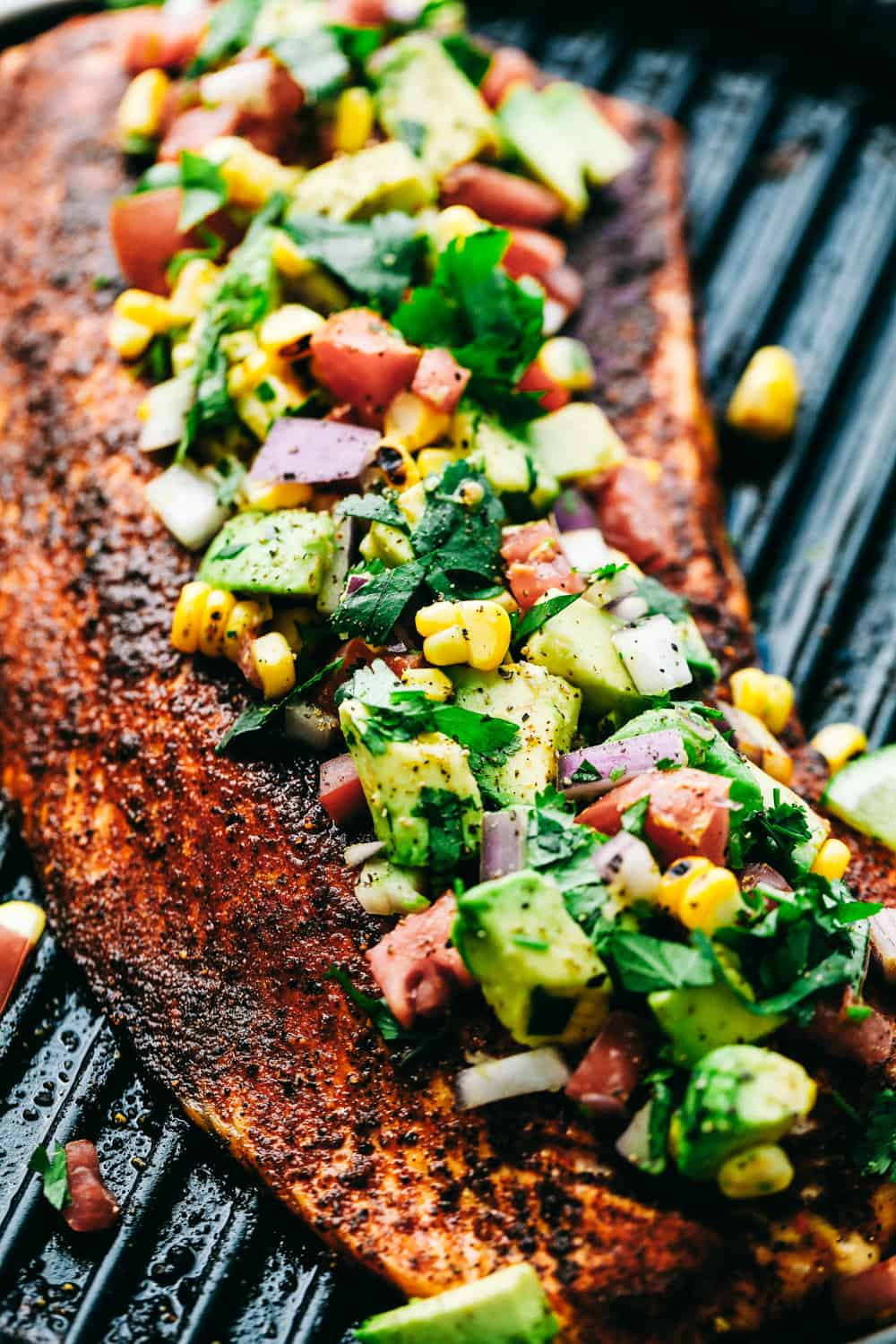 Grilled Salmon topped with Avocado Salsa