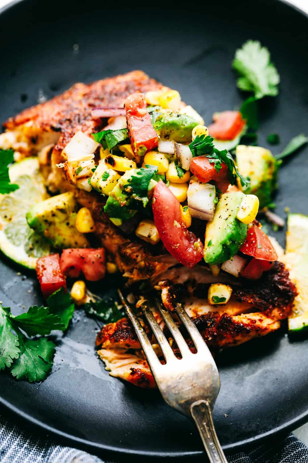 Close up of Grilled Salmon with Avocado Salsa