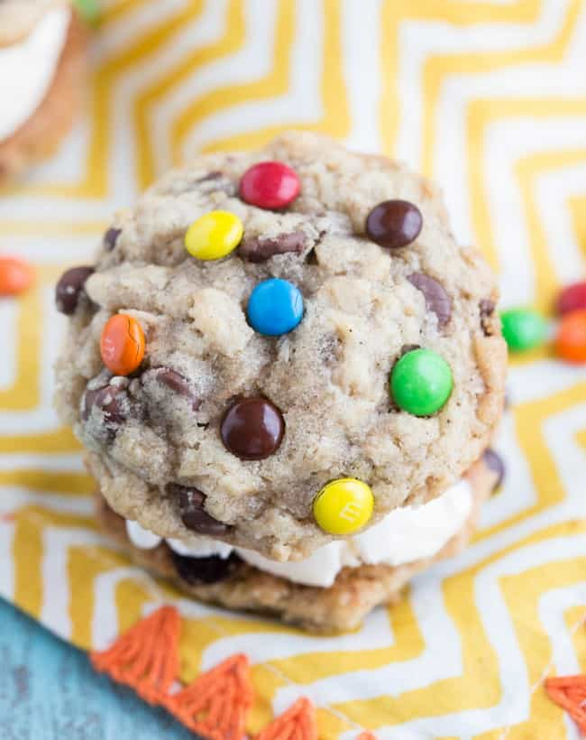 M and M cookie with ice cream in the middle.
