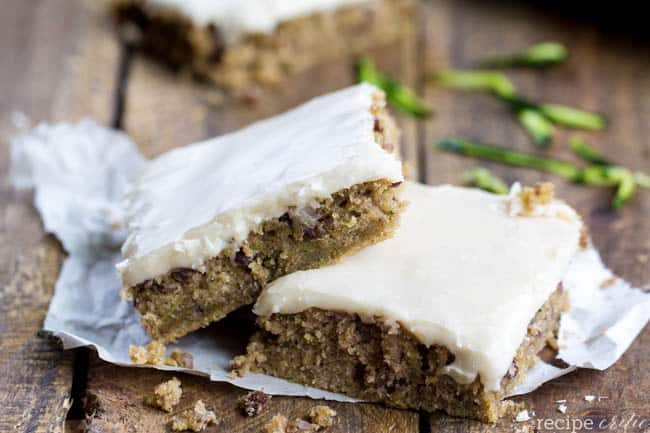 Zucchini bars on top of each other.