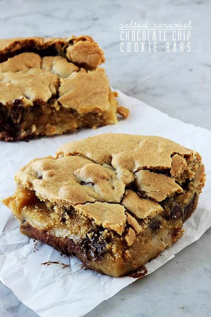 Salted Caramel Chocolate Chip Cookie Bars | The Recipe Critic