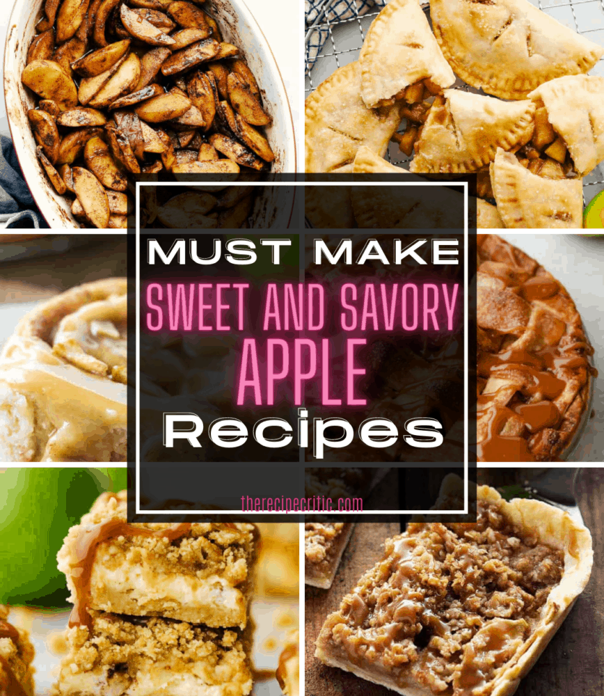 A collage of six photos of apple recipes.