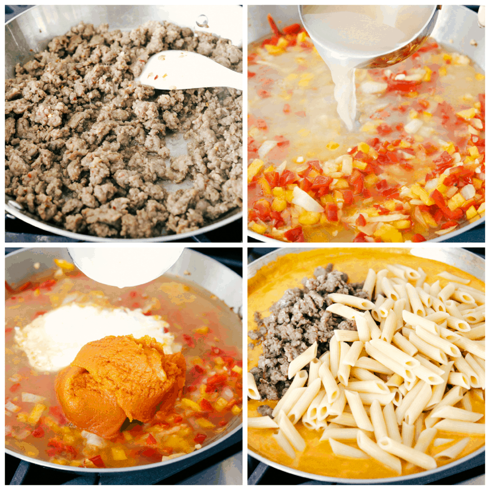 The process photos of sausage pumpkin pasta being made in 4 steps.