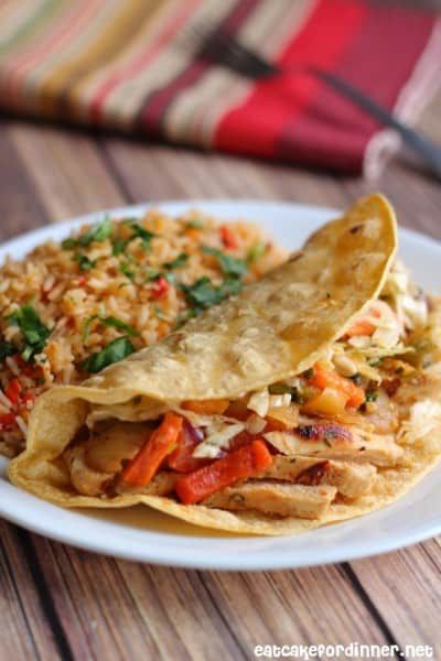 Cilantro Lime Fajitas with Mexican Slaw