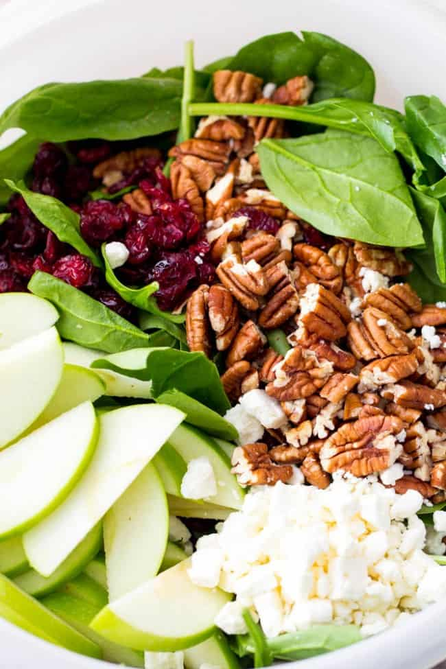 Ingredients for cranberry apple pecan salad.