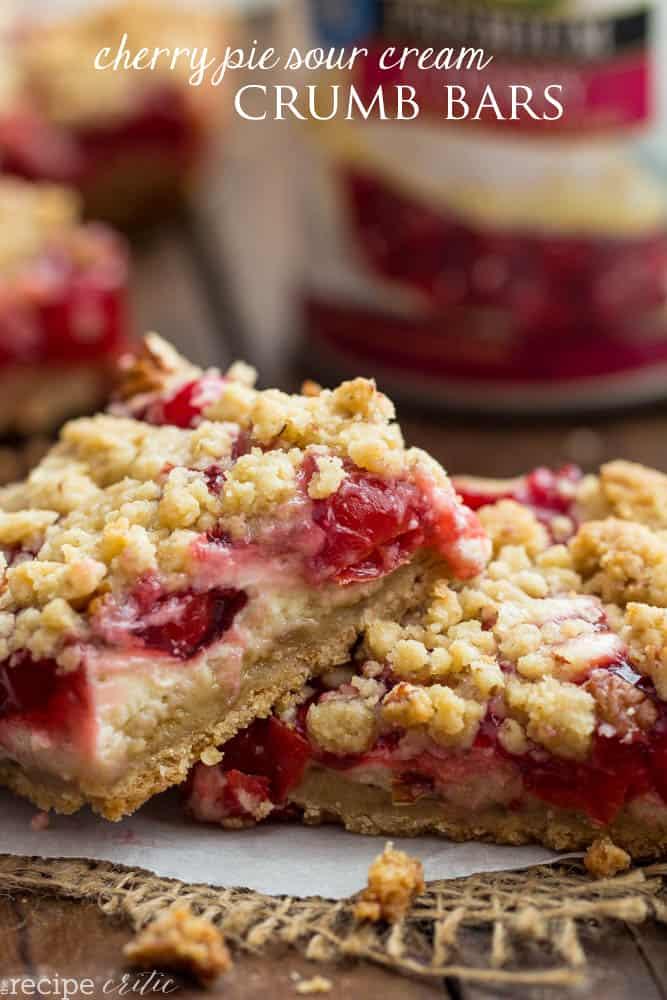 Cherry Pie Sour Cream Crumb Bars   The Recipe Critic