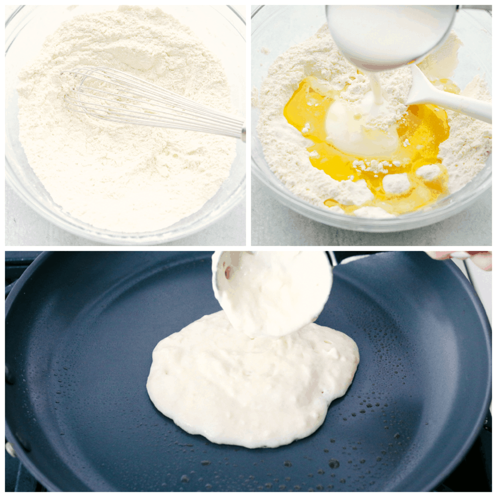Mixing the dry ingredients, then wet ingredients and cooking buttermilk pancakes.