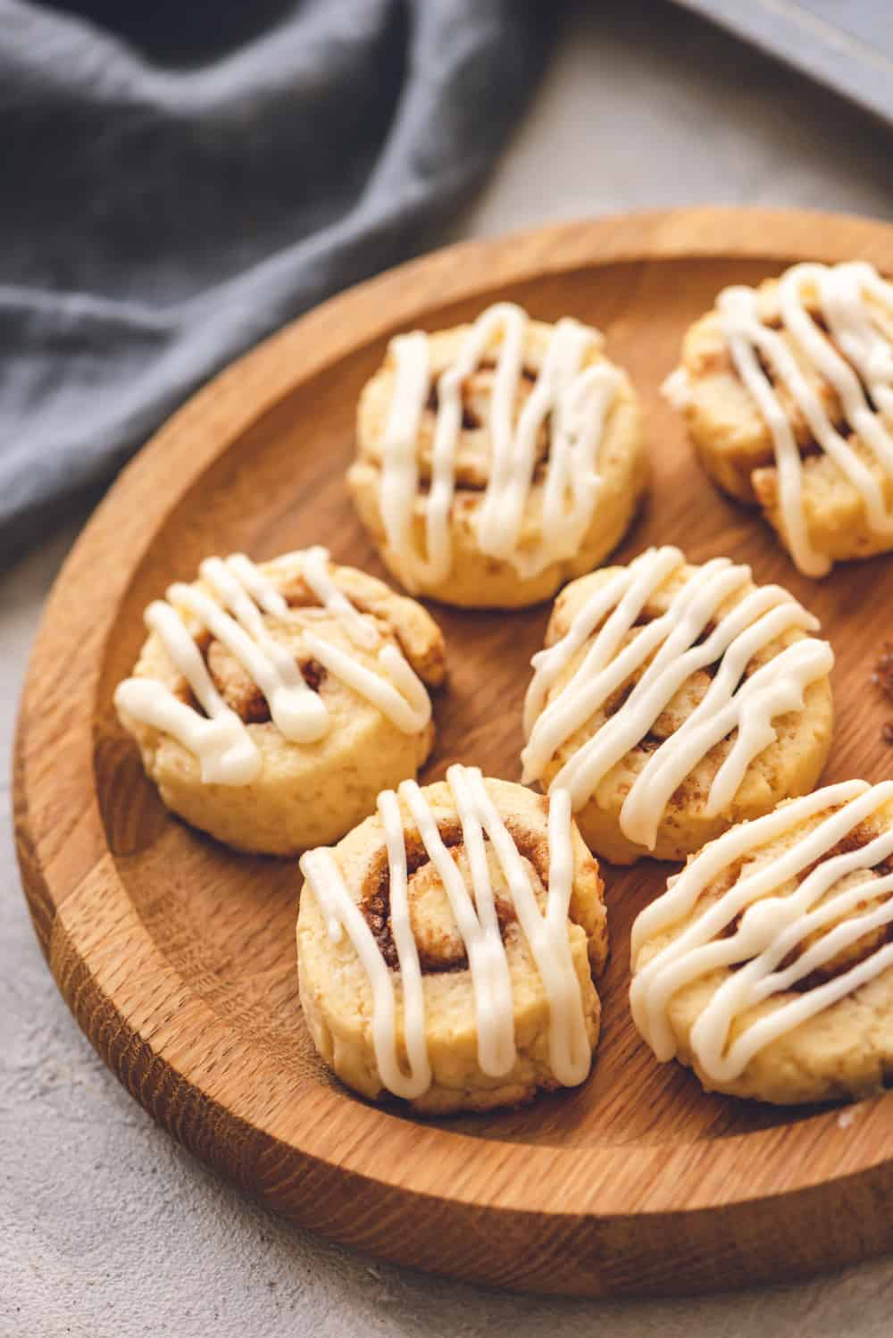 cinnamon roll cookies on a plate