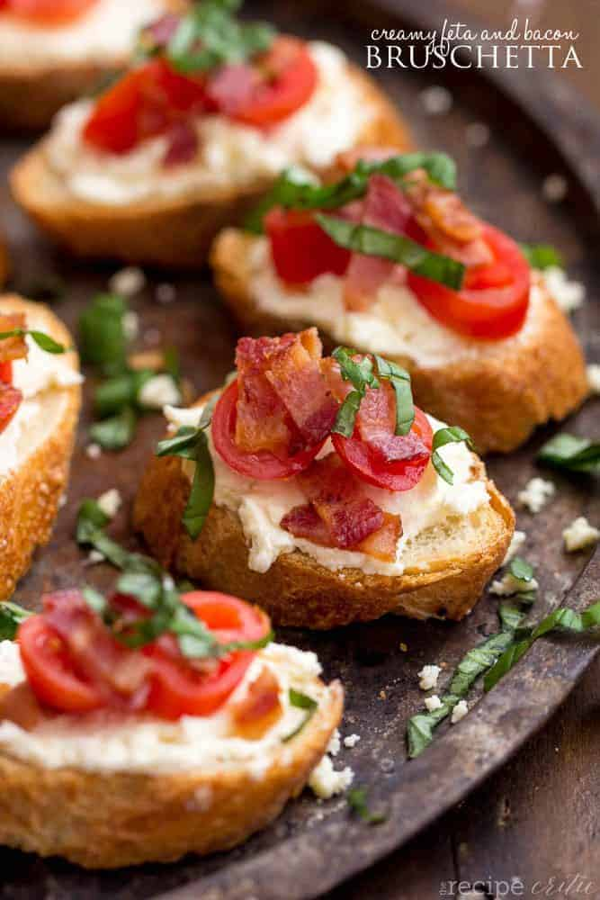 creamy feta bacon bruschetta on a plate.