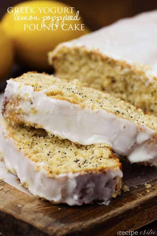lemon poppyseed bread with two pieces sliced off the loaf.