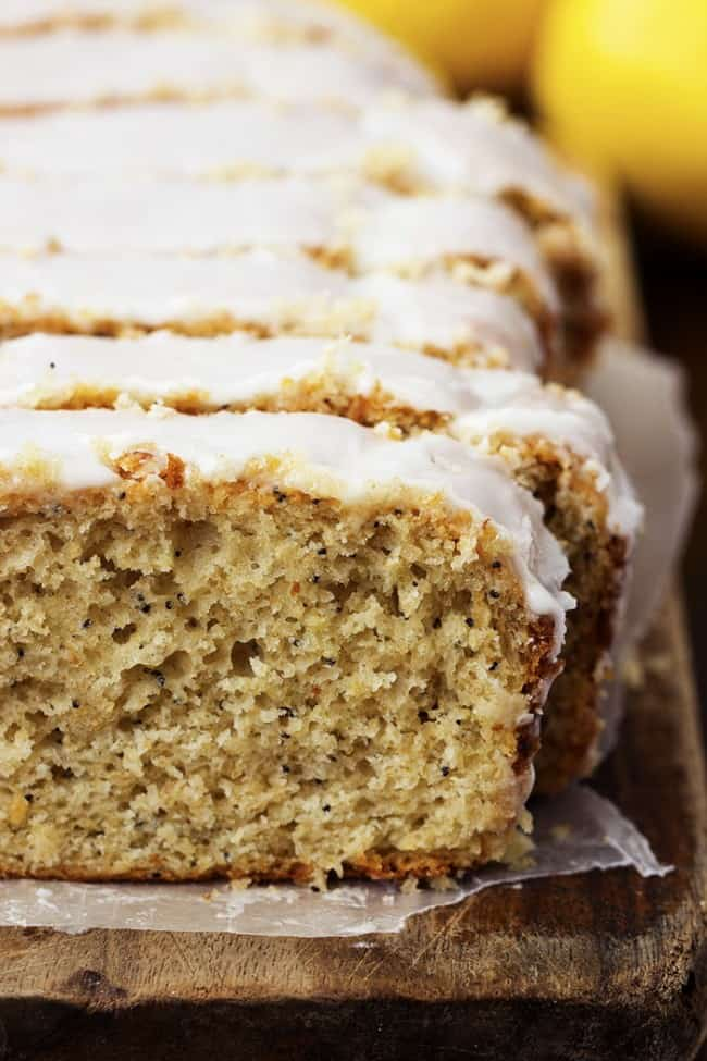 Healthy lemon poppyseed cake loaf sliced.