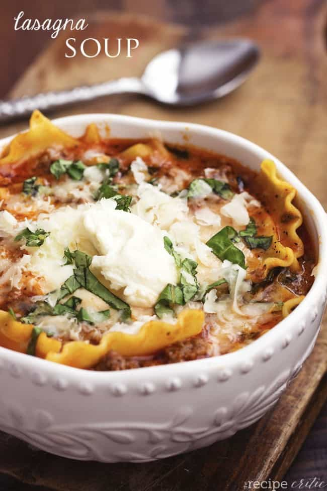 lasagna soup in a white serving bowl.