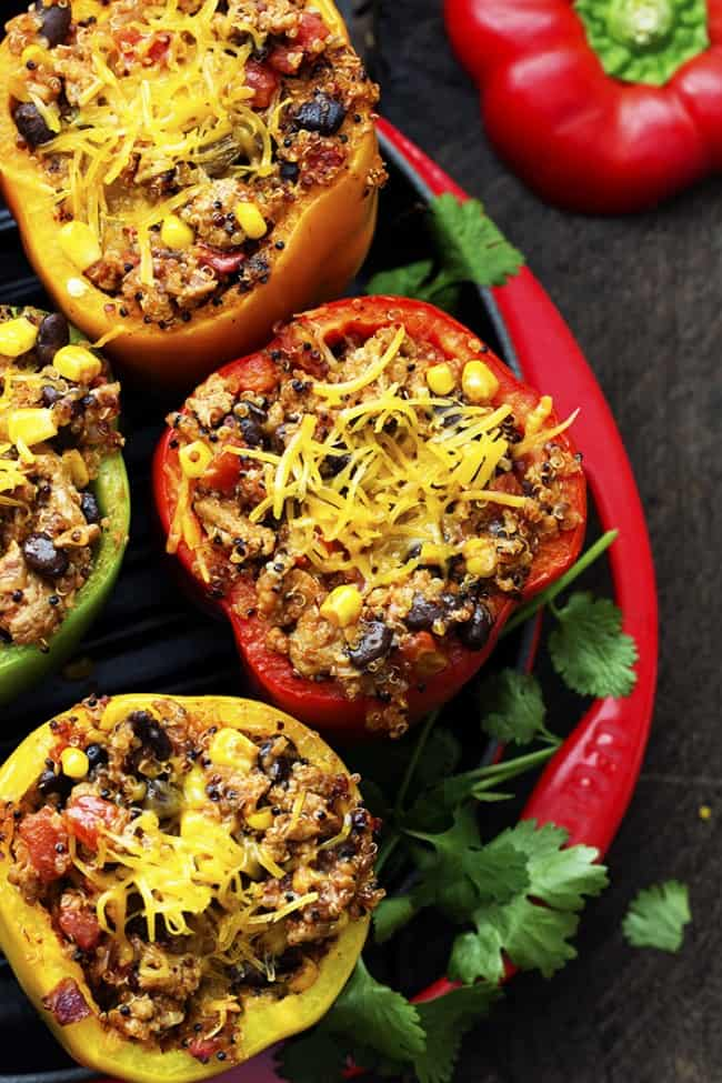 Close up areal view of mexican quinoa stuffed peppers.