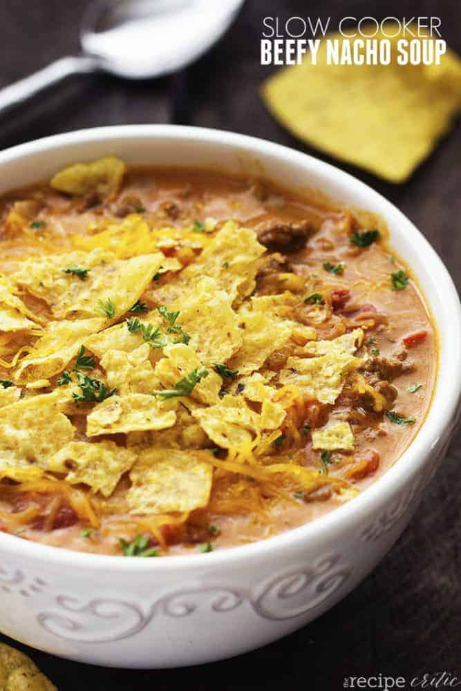 Slow cooker beefy nacho soup in a bowl.