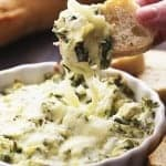 Skinny Three Cheese Spinach Artichoke Dip