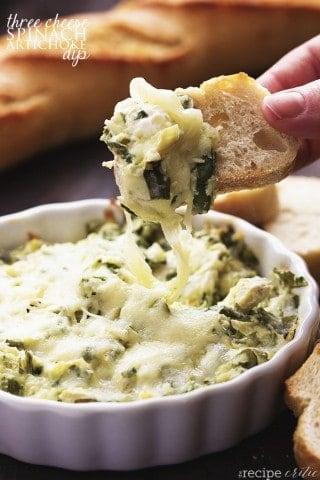 Skinny Three Cheese Spinach Artichoke Dip