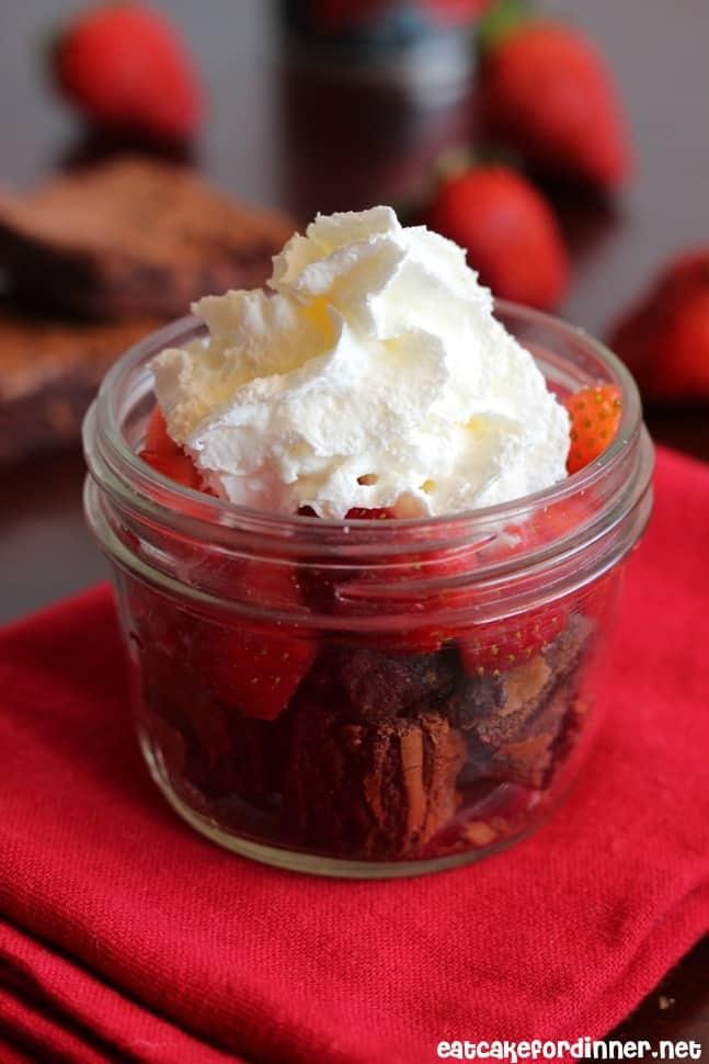 3-Ingredient Brownies with Strawberries