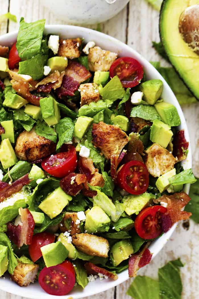 Avocado, Chicken and Bacon Chopped Salad with a Creamy Basil Dressing ...