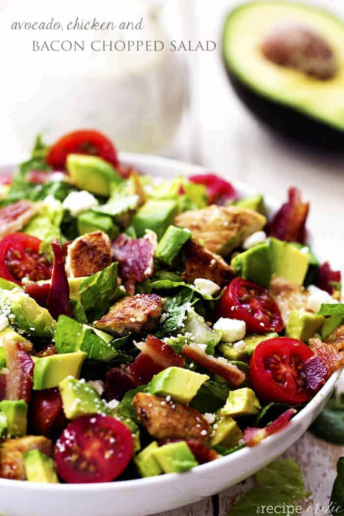 Avocado Chicken And Bacon Chopped Salad With A Creamy Basil
