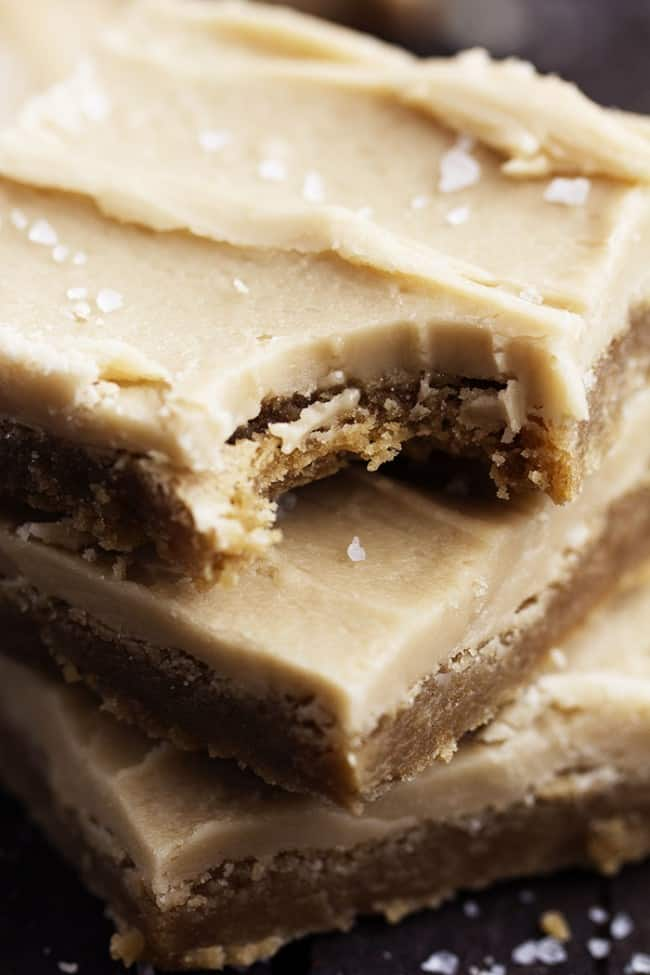 Close up on a stack of salted caramel bars