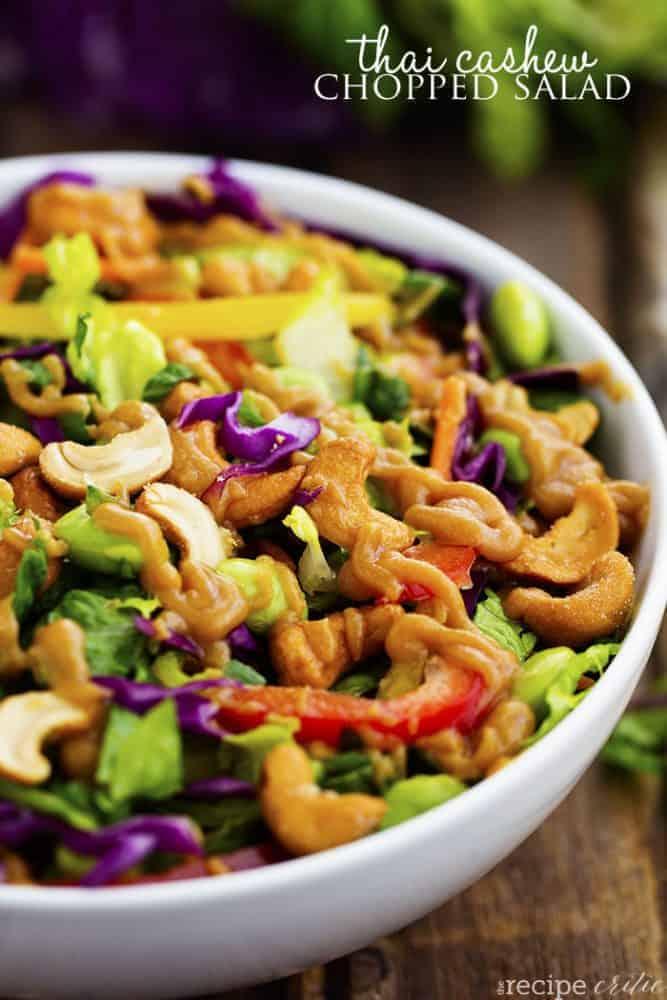 thai cashew salad in a white serving bowl.